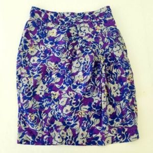 Fei Silk Floral Ruched Skirt